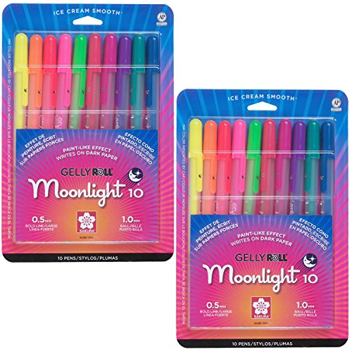 Sakura 38176 10-Piece Gelly Roll Assorted Colors Blister Card Moonlight 10 Bold Point Gel Ink Pen Set (2-PACKS)