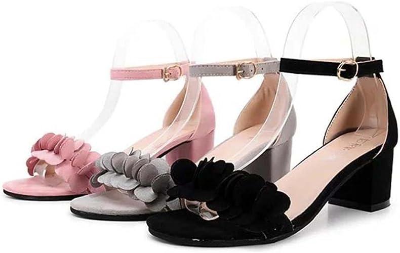 Clearance Sale!OverDose Ladies Block High Heel Sandals Flowers Adorn Buckle High Heels Shoes