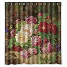 Sagatek Polyester Famous Classic Art Painting Flowers Blossoms Bath Curtains Width X Height / 72 X 72 Inches / W * H 180 By 180 Cm Best Choice For Girls Her Lover Wife Artwork. Machine Was