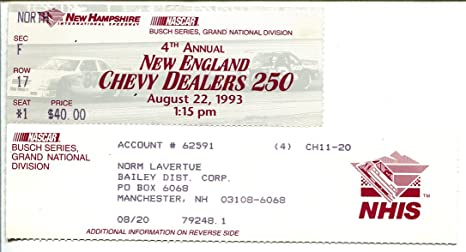 Chevy Dealers In Nh >> New Hampshire Int L Speedway Nascar Race Stub N E Chevy