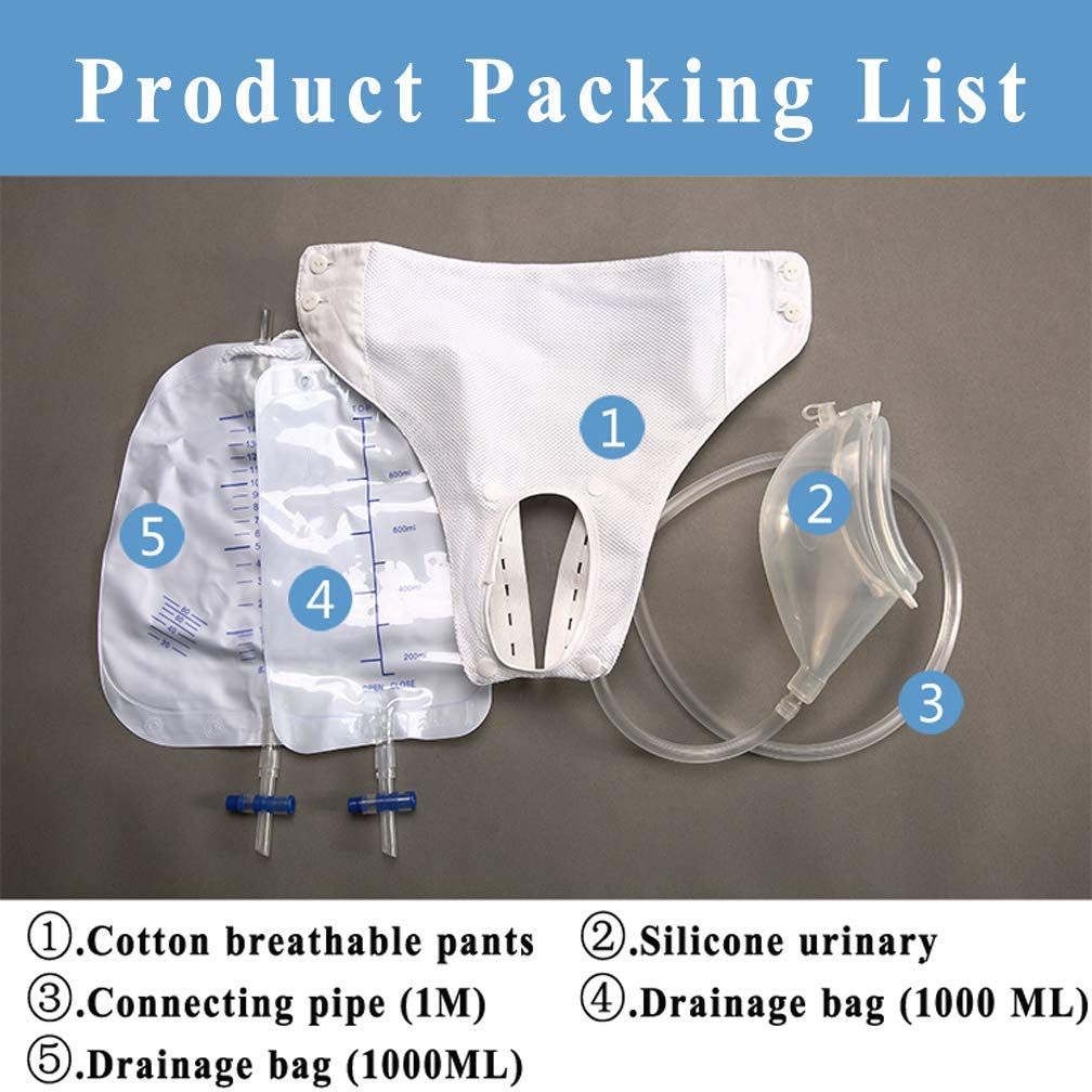 Sleeveslxx Urine Bags Portable Wearable Pee Holder Reusable for Urinary Incontinence with Spill Proof Collection Bag,ElderlyMenType