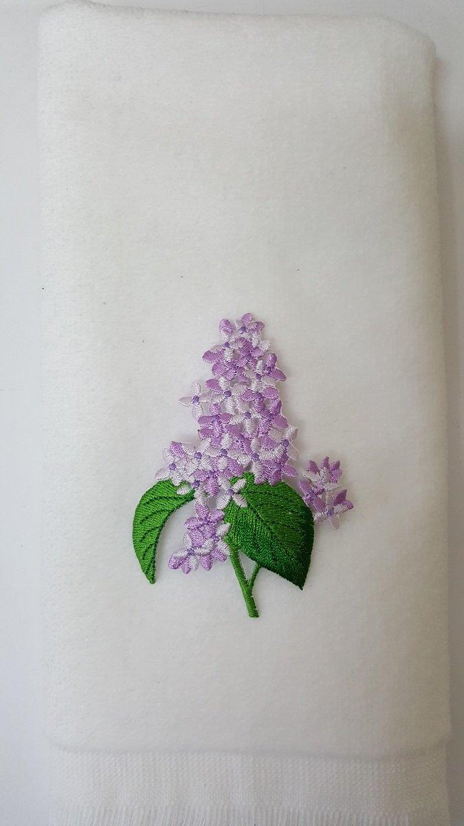 Lilacs Fingertip Towel Applique White lilac bath flower