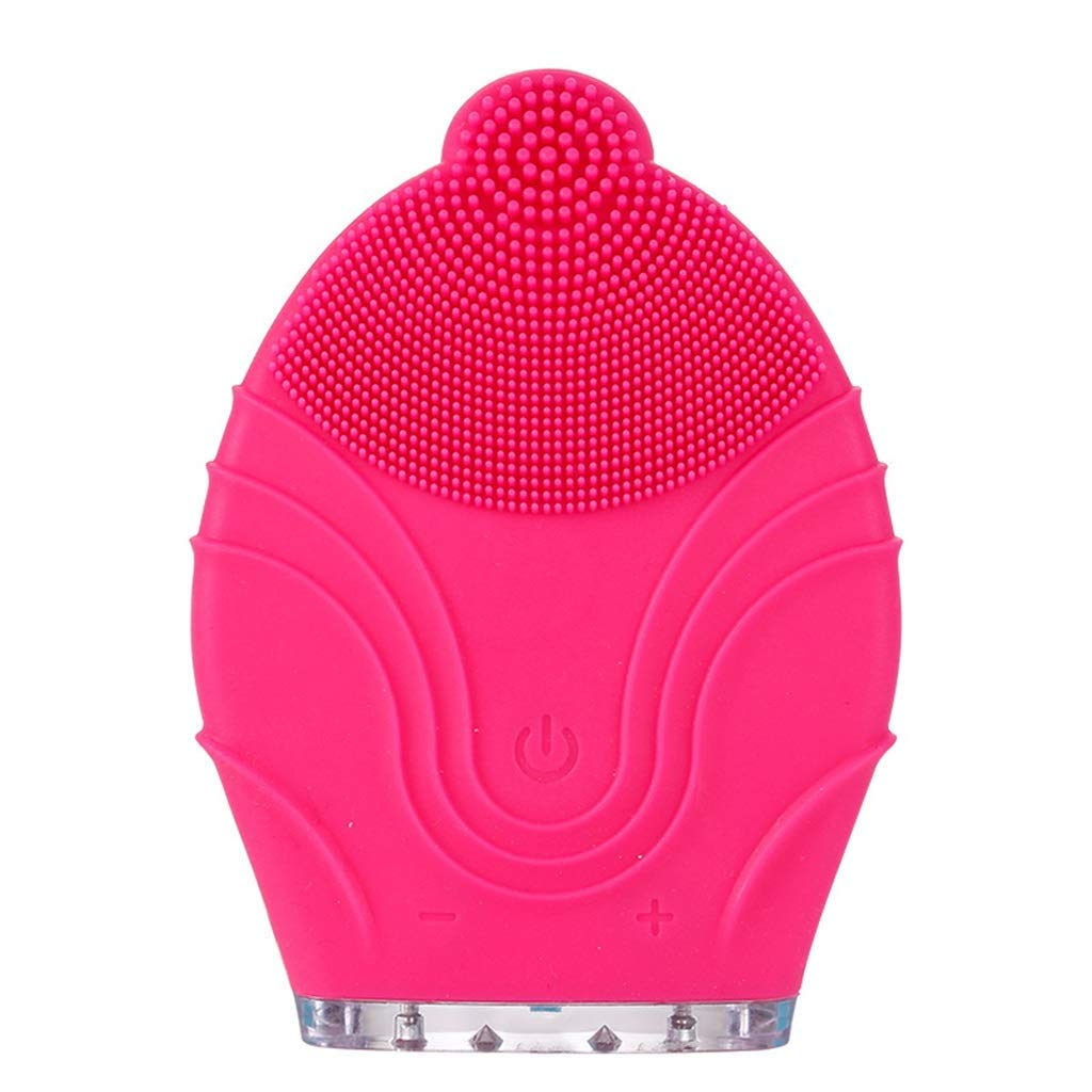 HAOMEI Facial Cleansing Brush Facial Cleaner, Cleansing Instrument, Charging Cleansing Instrument, Pore Cleansing Brush, Beauty Instrument, Silicone Washer (Color : Red)