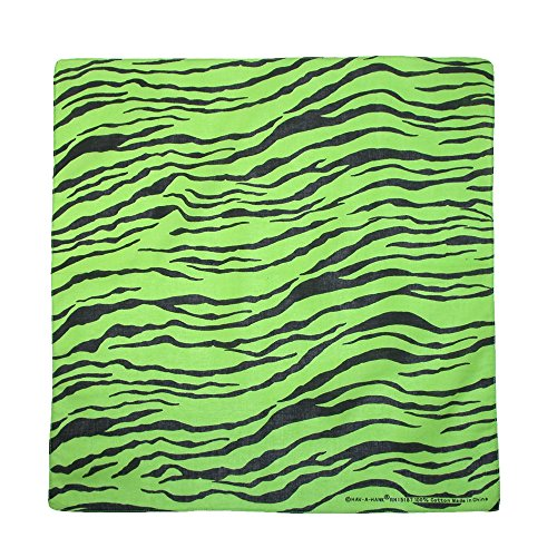 CTM Women's Cotton Neon Zebra Print Bandanas, Green (Animal Print Bandanas)