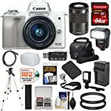 Canon EOS M50 Wi-Fi Digital ILC Camera & EF-M 15-45mm IS STM Lens (White) with 64GB Card + Lens + Battery + Charger + Tripod + Flash + Cases + Kit