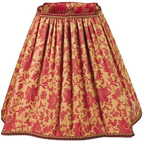 Royal Designs Fancy Square Empire Pleated Designer Lamp Shade, Red Flower 6.75 x 16 x 13.25