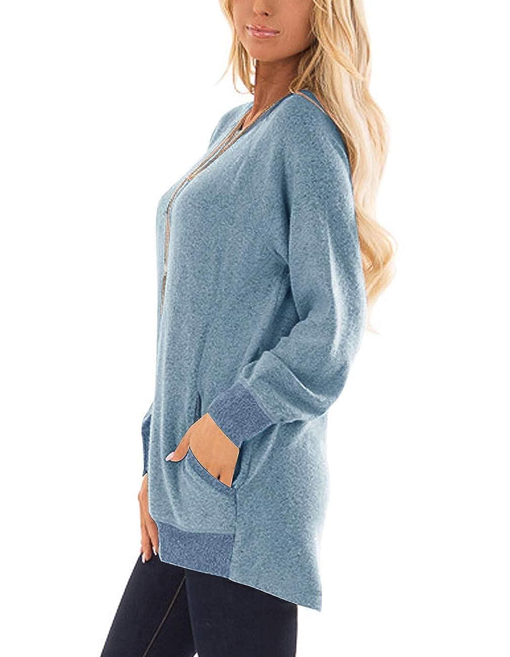 SEHOO Womens Color Block Long Sleeve Crewneck Oversized Sweatshirts Plus Size Tunic Tops