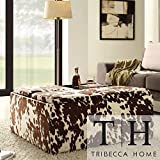 Cheap Metro Shop TRIBECCA HOME Decor Brown White Cow Hide Storage Ottoman