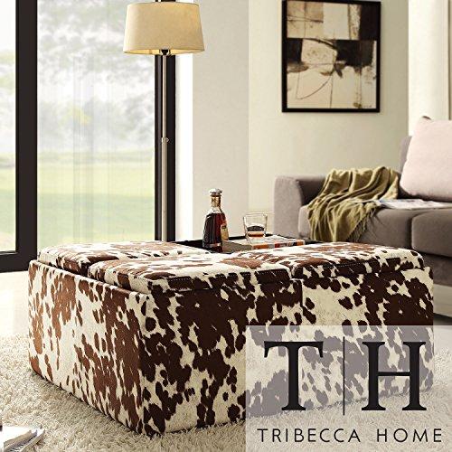 Price comparison product image Metro Shop TRIBECCA HOME Decor Brown White Cow Hide Storage Ottoman