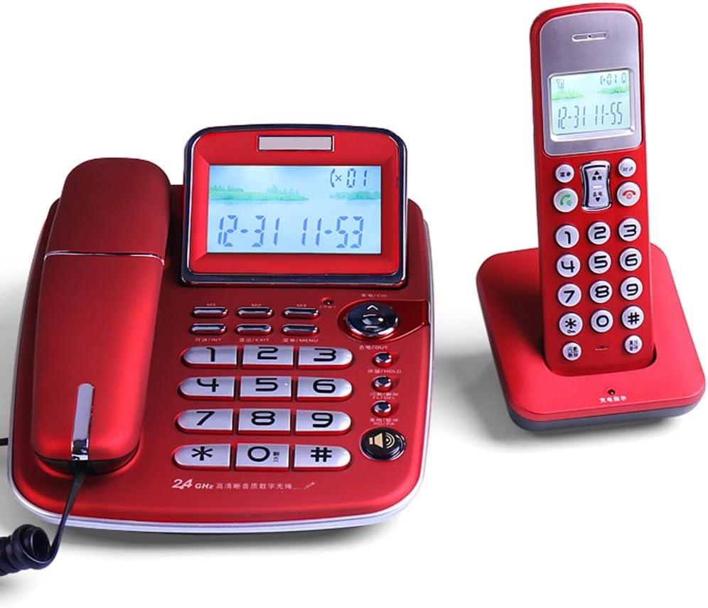 Teléfono - Distancia Lejana Teléfono inalámbrico Interno Teléfono Principal y Extensión Teléfono-Oficina en casa Extensión inalámbrica Línea Fija-Multicolor Opcional (Color : Red)