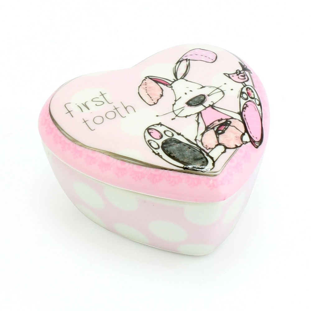 First Tooth Trinket Box Little Miracles Bunny Design PINK for girls Lesser & Pavey