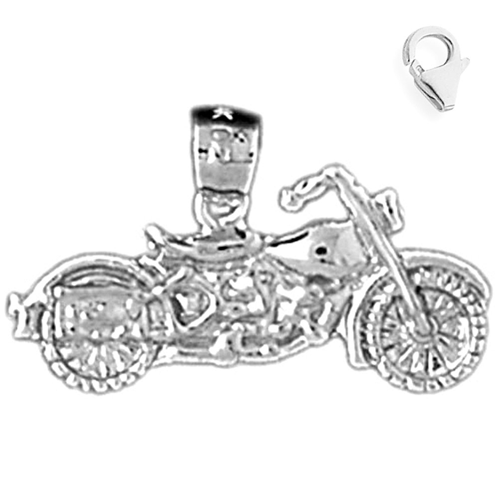 JewelsObsession Sterling Silver 13mm Motorcycle Charm w//Lobster Clasp