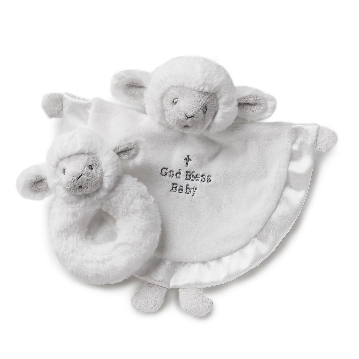 Nat and Jules Serenity Lamb Blankie and Rattle Gift Set
