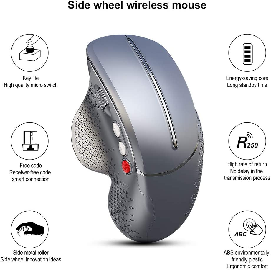 CWWHY Ratón Inalámbrico Ergonómico, Diseño Ergonómico para Reducir El Dolor De Muñeca, Ratón Ergonómico Inalámbrico USB 2.4G Óptico, 6 Botones 4 dpi Ajustable A iH5VjrWV