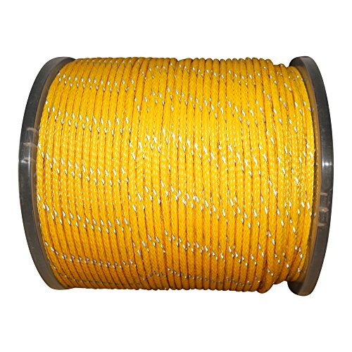 (Hollow Braid Polyethylene Rope (1/2 inch) - SGT KNOTS - 100% High-Grade Polyethylene Cord with Reflective Tracers - Path Marking, Ski Slopes, Outdoor Concerts, Crafting (50 feet - Coil - Yellow))