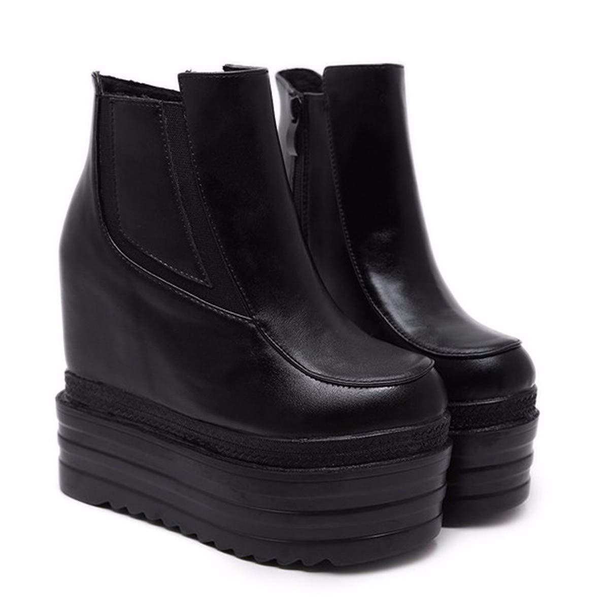HBDLH Damenschuhe Hang Ferse Kurze Stiefel Mit Hohen High - Heel 14 cm Muffin Mit Samt Unten Rein Verschärfen Ma Dingxue  | Neuankömmling
