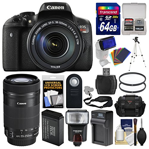 Canon EOS Rebel T6i Wi-Fi Digital SLR Camera & EF-S 18-135mm IS STM with 75-300mm Lens + 64GB Card + Case + Flash + Battery & Charger + Tripod Kit