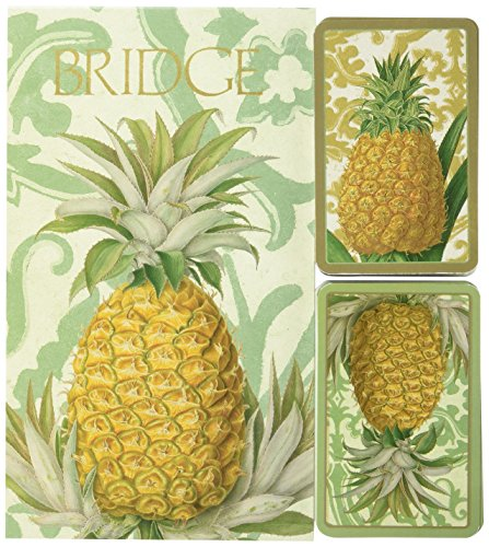 Entertaining with Caspari Bridge Playing Card Gift Set, Royal Pineapple