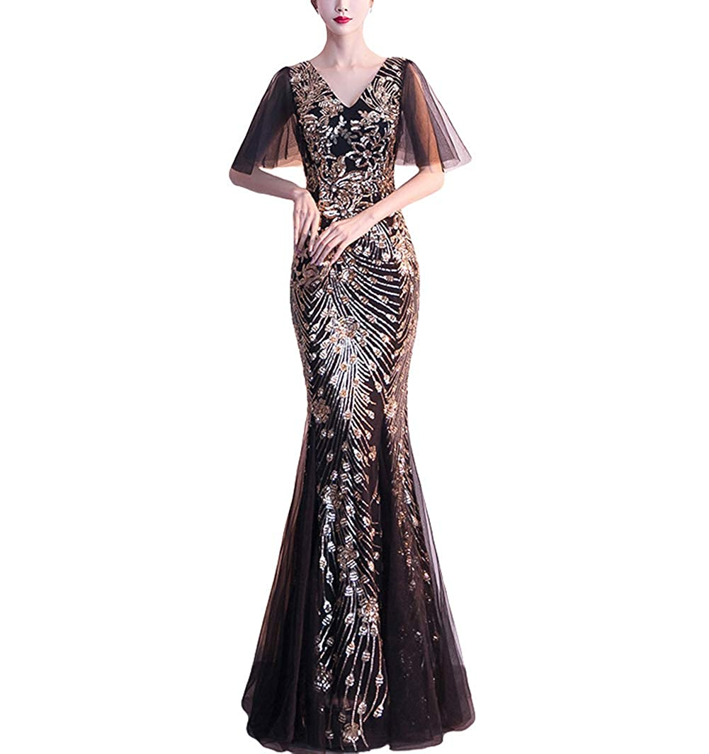 16272blackgold Chowsir Women Sexy Elegant Slim Sequin Cocktail Party Evening Long Dress