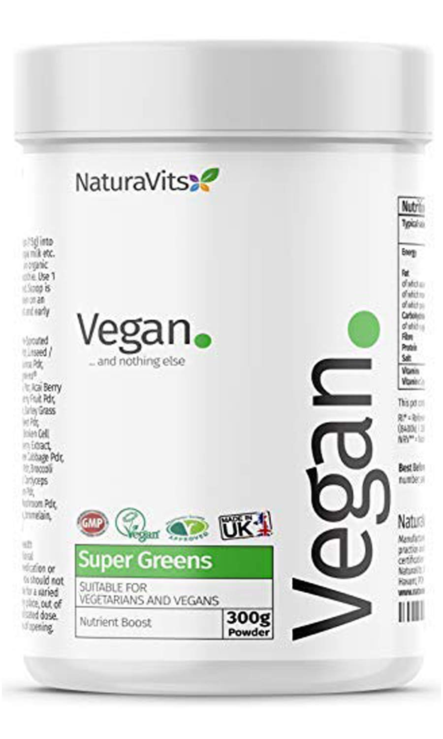 NaturaVits Vegan Super Greens Powder Vegan and Nothing Else Made in The UK product image