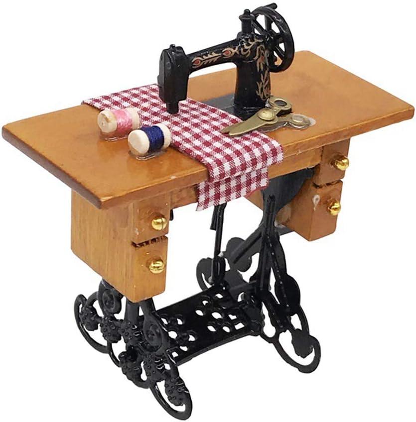 traline 01:12 Máquina de Coser de muñecas en Miniatura con Rosca Tijeras de Tela Scaled Dollhouse Accesorios