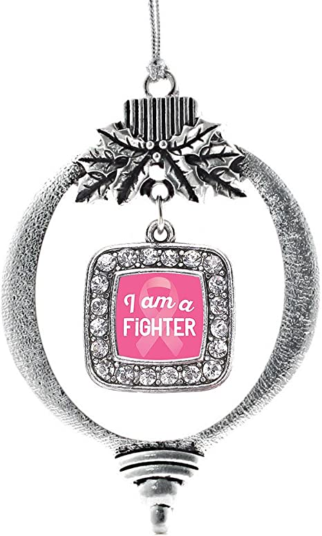 Amazon Com Inspired Silver I Am A Fighter Breast Cancer Awareness Charm Ornament Silver Square Charm Holiday Ornaments With Cubic Zirconia Jewelry Home Kitchen