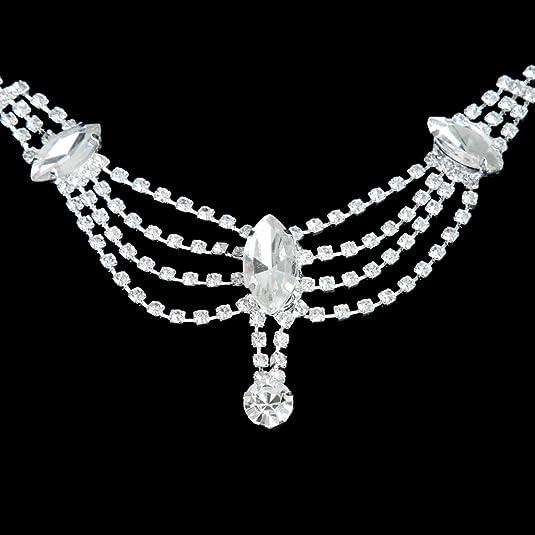 Tocado Cadena de Pelo Pista Frente Diamantes de Imitación Adorno Boda Novia: Amazon.es: Joyería