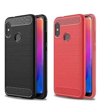 2X Funda Xiaomi Mi A2 Lite, XiaoXiMi Carcasa de Silicona Ultra Fino de TPU - Funda Xiaomi A2 Lite Fibra de Carbono Suave Lisa Carcasa a Prueba de ...