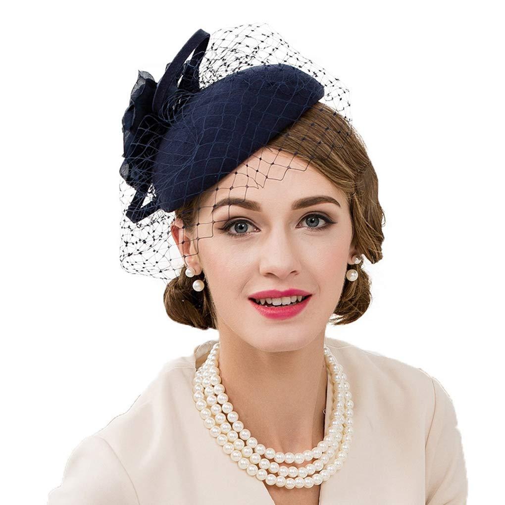 HappyShopDecoration Fascinators Hat for Women Wool Felt Pillbox Hats with Flower Ladies Elegant Veil Wedding Party Fedoras Navy