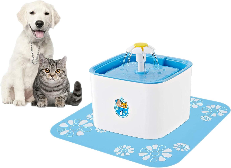 FONLAM Fuente para Gato Perrito Perro Cachorro Bebedero Automático de Silencio con 2 Filtros + Alfombrilla Impermeable Dispensador de Agua Mascota Pájaro 1,6L Higiénico (Cuadrado 2,5L)
