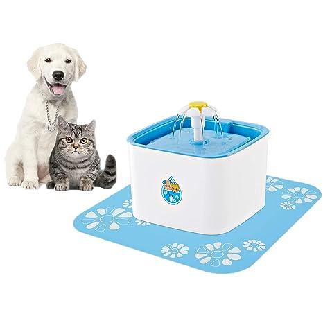 FONLAM Bebedero para Perro Gato Cachorro Fuente Automático Silencioso con Filtro + Alfombrilla Impermeable Dispensador de