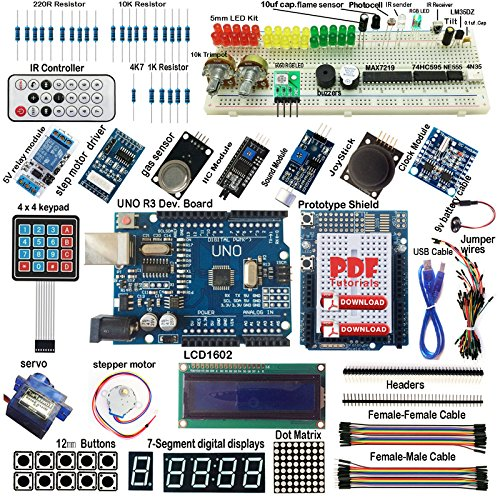 Arduino-compatible UNO R3 Starter Kit I2C 1602LCD Servo Gas Sensor Stepper Relay by Aigh Auality shop