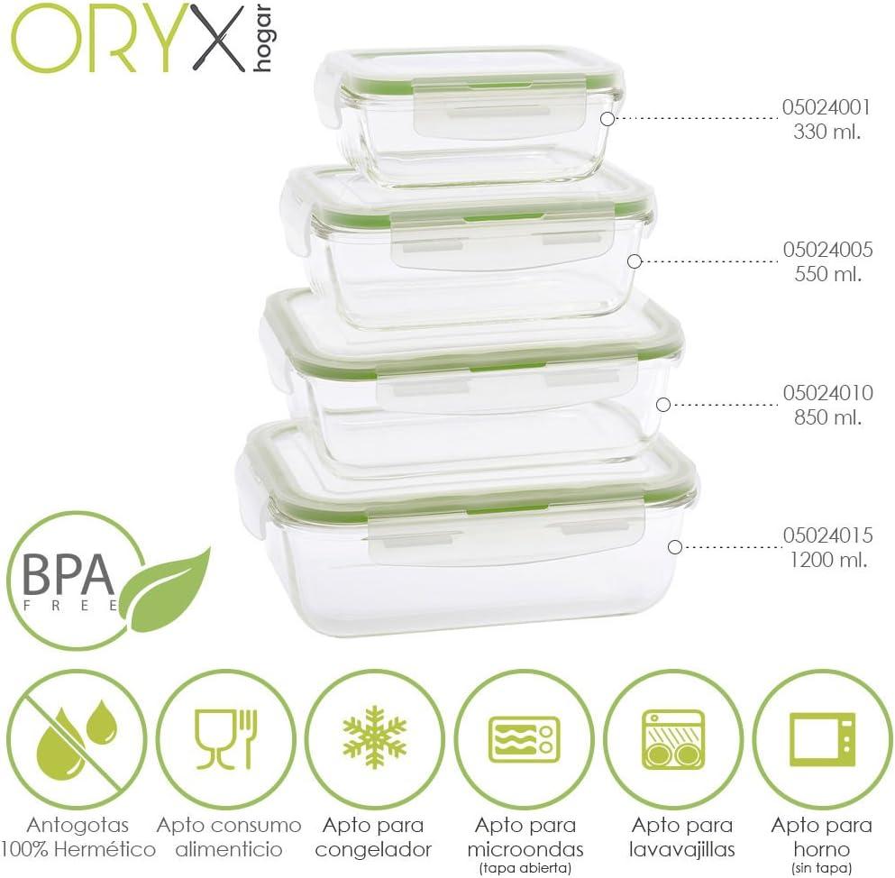 Oryx 5024005 Recipiente Hermético, Cristal 550 ml, 16.7 x 11.8 x ...