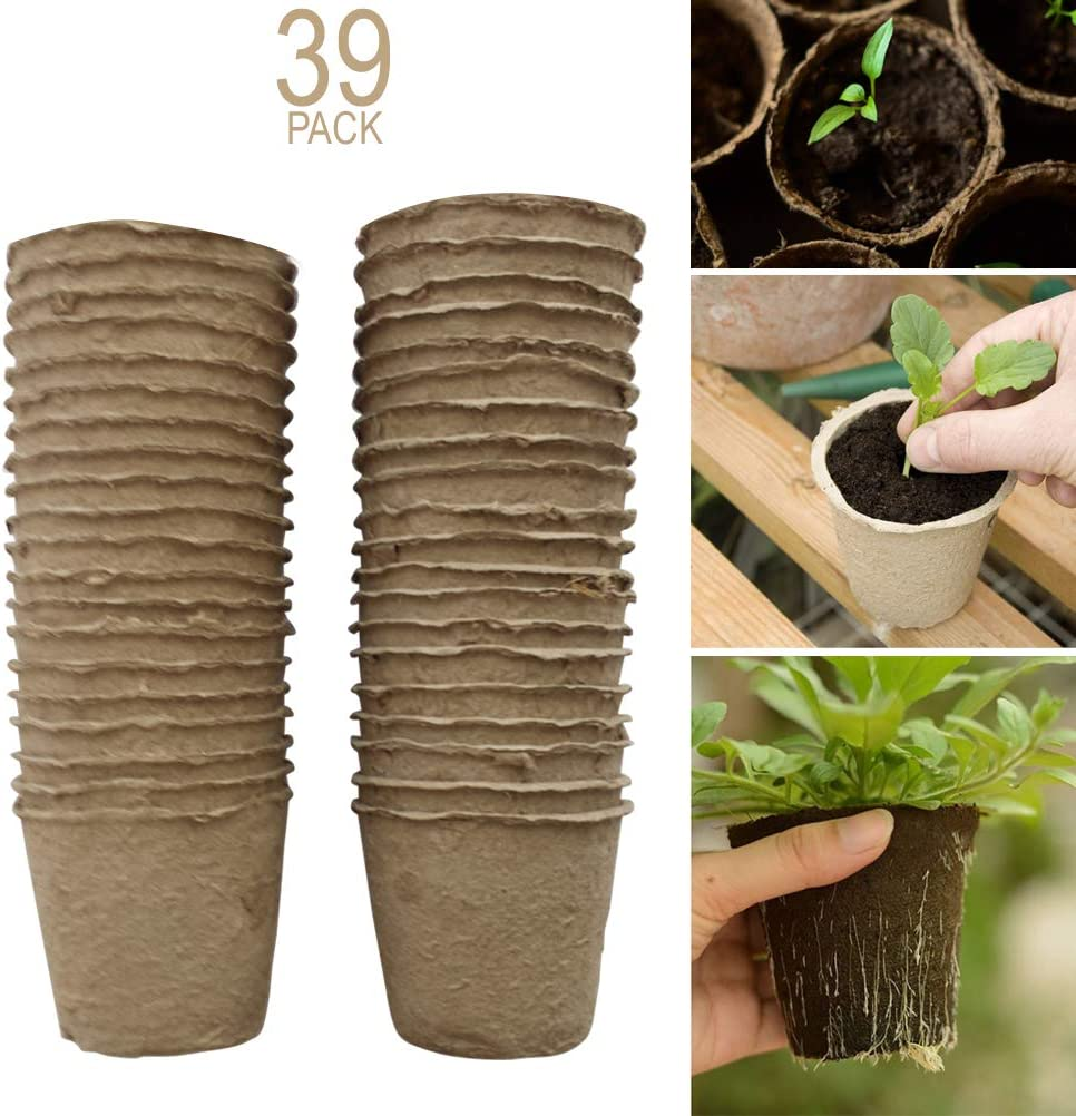Schone Products UK 6 cm – ollas redondas para turba – orgánico biodegradable – Start Your Dream Garden – para semillas, arrancadores, plantones – 39 piezas