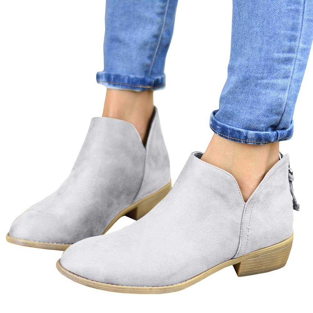 f40c4b02c03 Womens Western Cutout Booties Ankle Boots Chunky Low Heel Almond Toe  Stacked Zip Boots