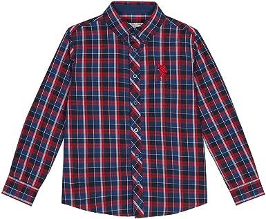 U.S. Polo Assn. Camisa de Manga Larga a Cuadros para niños Rojo Rojo Oscuro 10-11 Años: Amazon.es: Ropa y accesorios