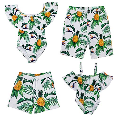 Styles I Love Summer Family Matching Swimwear Pineapple Printed One-Piece Swimsuit Bathing Suit Swim Trunks Beach Pool Swimwear (Pineapple, Dad M)