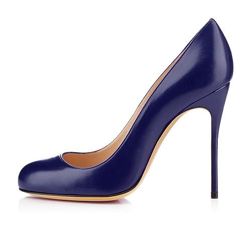 bbb08d223 elashe Escarpins Femmes Chaussures Stiletto Bout Rond Talon Aiguille ...