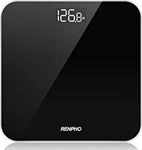 RENPHO Digital Bathroom Scale, Highly Accurate Body Weight Scale with Lighted LED Display, Round Corner Design, 400 lb, Black