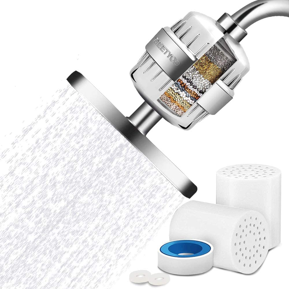 MEETYOO Shower Filter, 15-Stage Showerhead Filter for Hard Water Universal Shower Softener to Remove Chlorine for Fixed Handheld Bathing