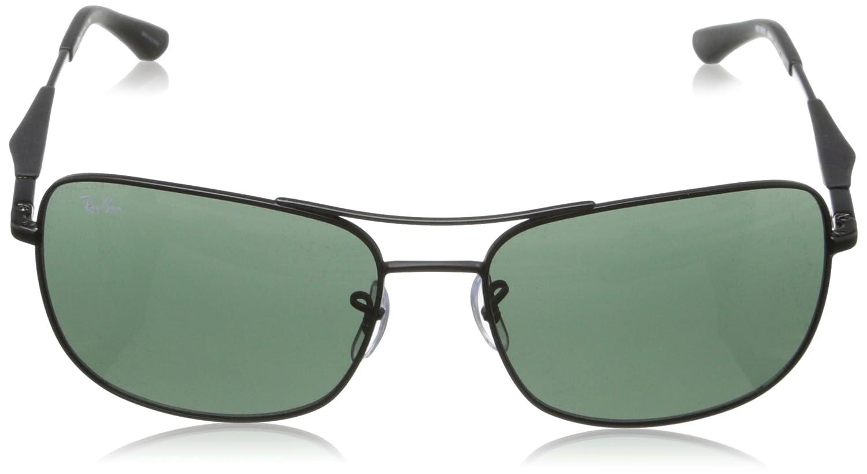 9dc3ee4023d Amazon.com  Ray-Ban STEEL MAN SUNGLASS - MATTE BLACK Frame GREEN Lenses  61mm Non-Polarized  Clothing