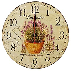 Swonda Decorative Silent Wood Clock Non Ticking Vintage Country Style Wall Clocks for Bedroom Kitchen Living Room Decorations (14 inch, Lavender)