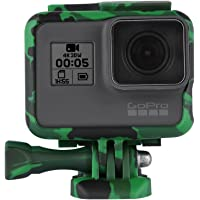 TELESIN Camouflage Protective Frame Mount Housing Camera Border with Quick Release Buckle and Screw for GoPro Hero 2018, Hero 7 Hero 6 Hero 5 Black Frame Case Accessories (Green)