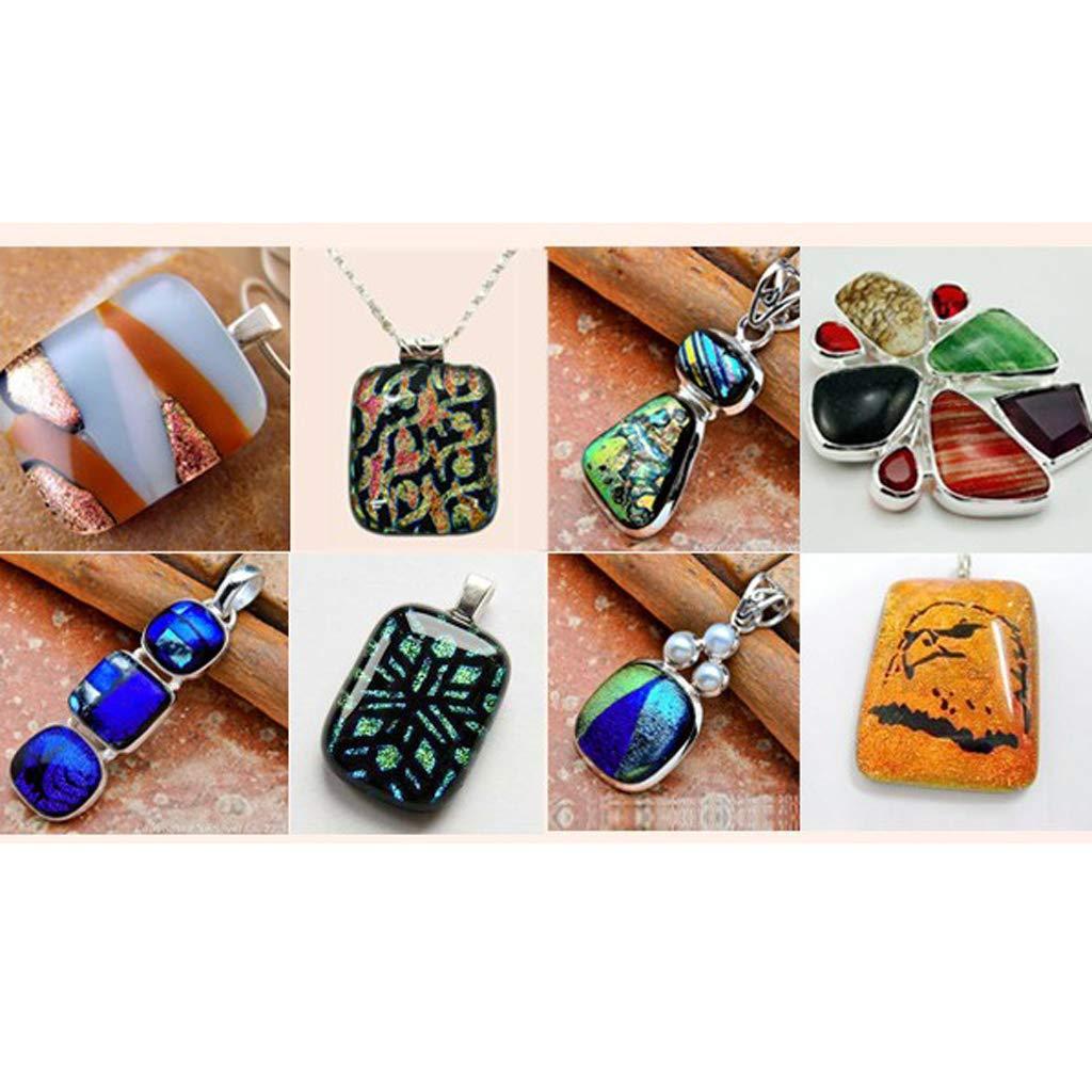 sharprepublic 128g Millefiori Multicolore Lumineux Glass Cabochons Dome Crafts Glass Mosaic Supplies pour Bijoux Making 5x5cm