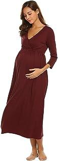 Camicia da Notte Infermieristica Donna da 4 3 Manica Semplice Glamorous Lunga Camicia da Notte A Maniche Lunghe in Cotone per Gravidanza E Allattamento al Seno da Notte Vestito da maternità Vestito None
