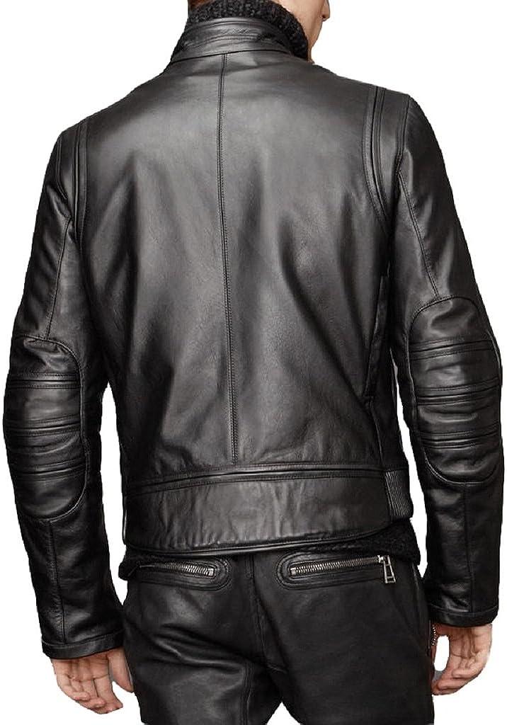 Mens Slim Fit Genuine Lambskin Motorcycle Leather Jacket LT141