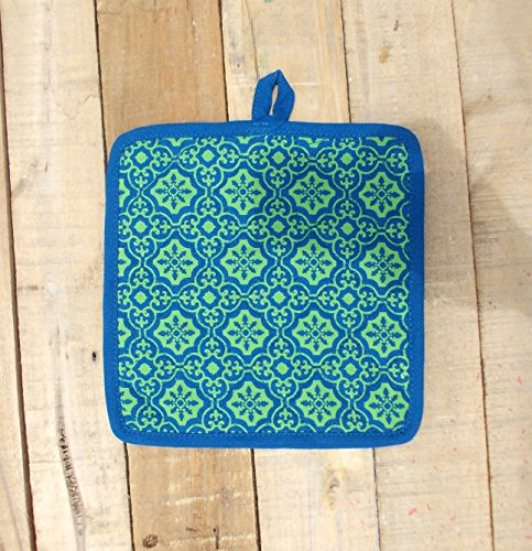 Turquoise and Green Printed Pot Holder Quilted Retro for sale  Delivered anywhere in Canada