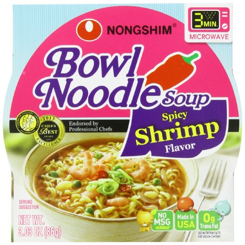 (NongShim Bowl Noodle Soup, Spicy Shrimp, 3.03 Ounce (Pack of 12))