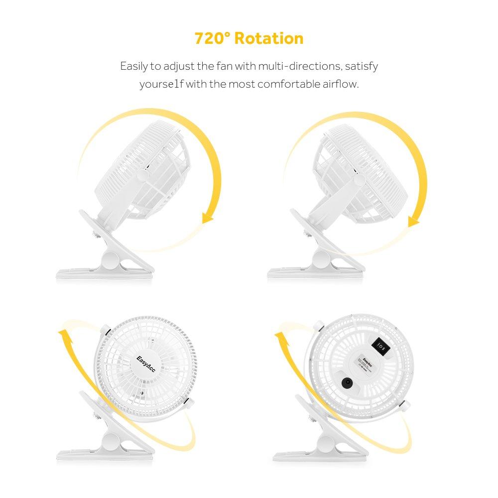 Easyacc 720° Drehung Clip Schreibtisch Ventilator Mini Lüfter USB ...