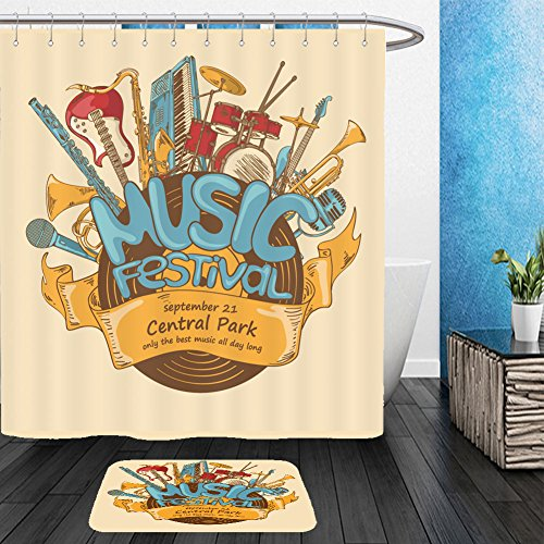 Vanfan Bathroom 2?Suits 1 Shower Curtains & ?1 Floor Mats illustration with musical instruments and vinyl record music festival concept musical creative 252738295 From Bath room